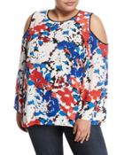 Floral-print Bell-sleeve Blouse,