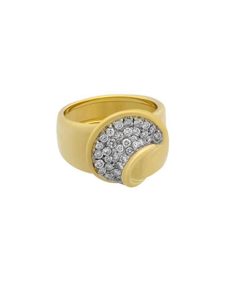 18k Circular Diamond Pave Ring,