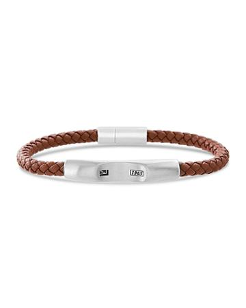 Men's Braided Leather Bracelet With Stainless Steel Clasp, Brown/silver