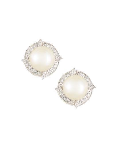 14k White Gold Freshwater Pearl & Diamond Button Earrings