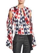 Sasha Star-print Draped Front Blouse