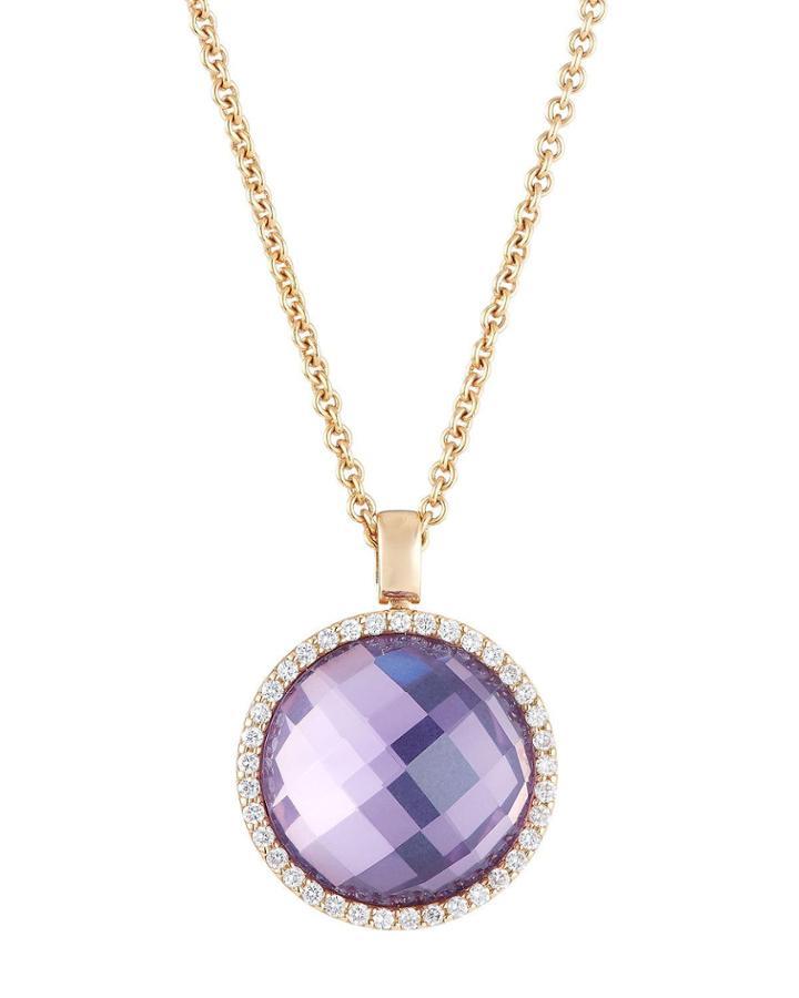 18k Rose Gold Amethyst & Diamond Pendant Necklace