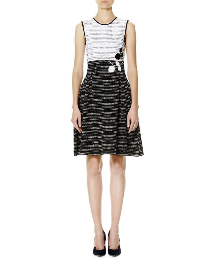 Leaf-embroidered Tweed Sleeveless Fit-&-flare Dress