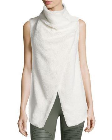 Cozy Up Draped Sport Vest, Natural