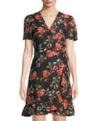 Flutter-sleeve Faux-wrap Floral Dress