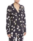 Double-breasted Floral-print Blouse