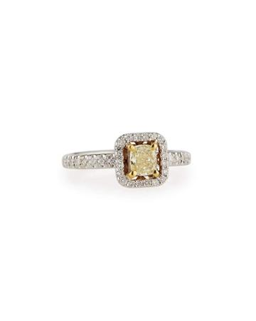 Cushion-cut Yellow Diamond Ring,
