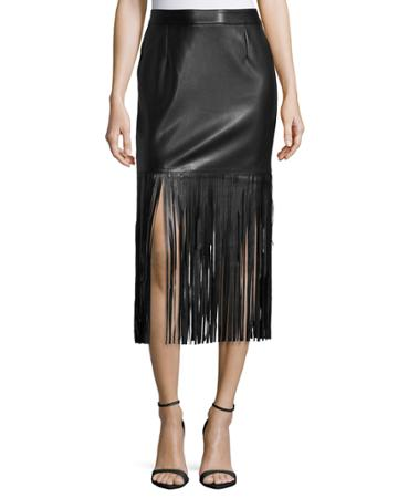 Neiman Marcus Faux-leather Long Fringe Skirt, Black,