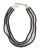 Batu Bedeg Silver 5-row Necklace W/ Black Chalcedony