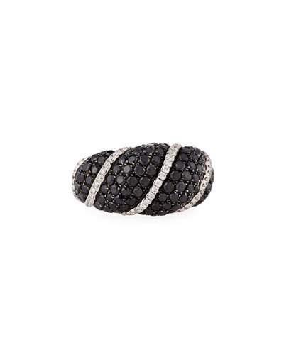 18k White Gold Black & White Diamond Ring,