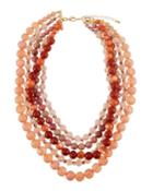 Five-strand Beaded Necklace, Pink