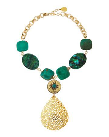 Chrysocolla & Opal Pear Pendant Necklace