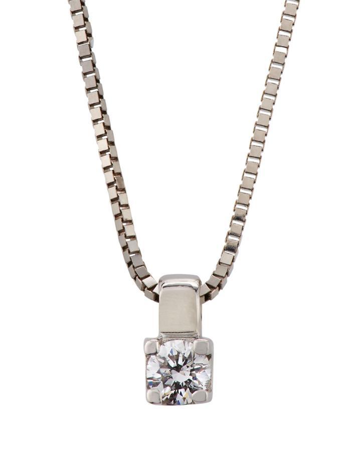 18k White Gold Square Prong-set Diamond Necklace