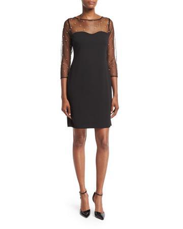 Illusion-yoke Long-sleeve Sheath Dress, Black