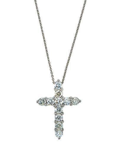18k White Gold Diamond Cross Pendant Necklace,