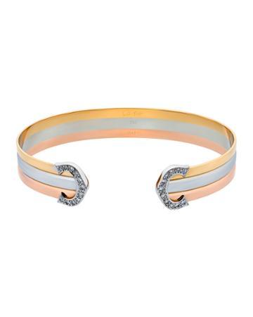 Estate 18k Tricolor Gold Double-c Diamond Bracelet