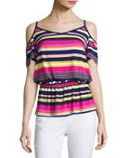 Striped Cold-shoulder Top,