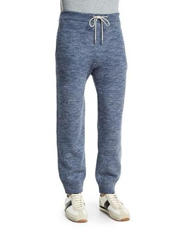 Double-faced Melange Lounge Trousers, Blue