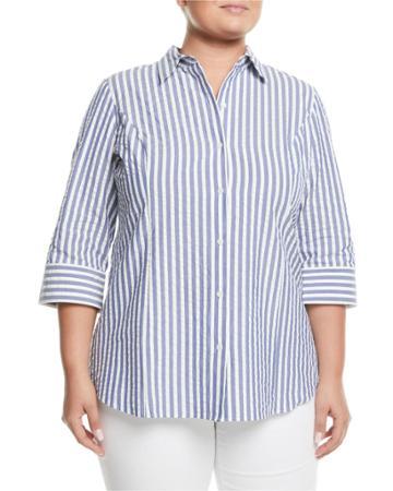 Striped-seersucker Button-front Blouse,
