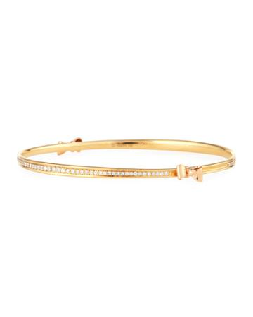 Two-tone 18k Gold Pave Diamond Bow Bangle Bracelet