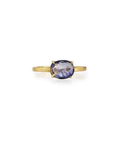 18k Oval Iolite Solitaire Ring,
