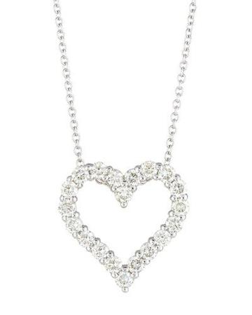 14k Diamond Heart Pendant Necklace,