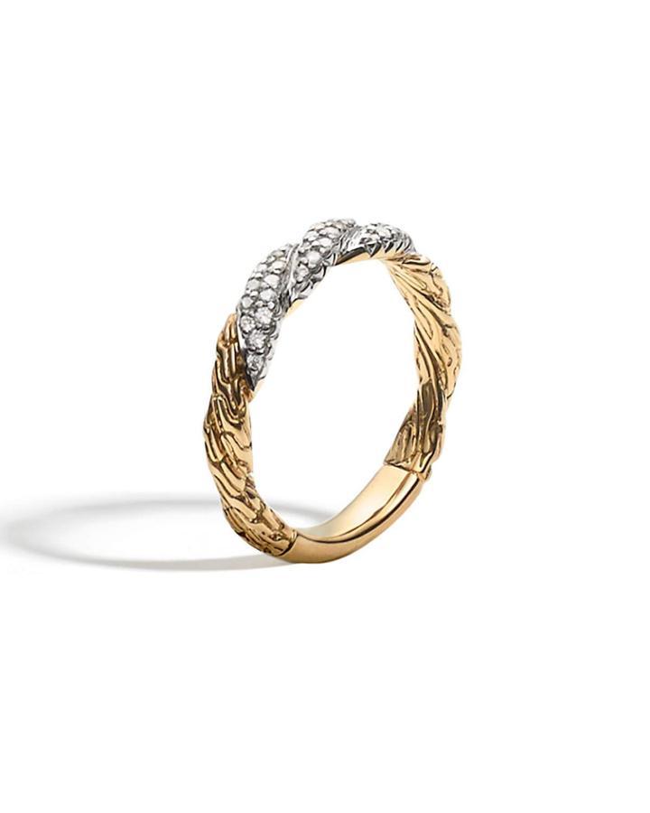 18k Gold & Diamond Twist Ring,