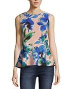 Floral-print Sleeveless Peplum Top
