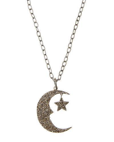 Long Pave Diamond Moon & Star Pendant Necklace