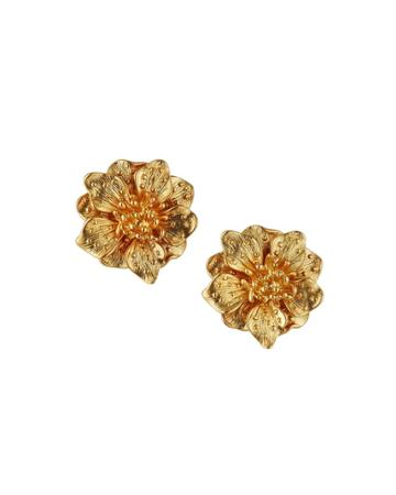 Satin Flower Clip Earrings