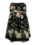 Sleeveless Floral-embroidered Dress,