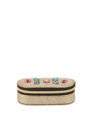 Neiman Marcus Jeweled Mini Lipstick Case, Gold