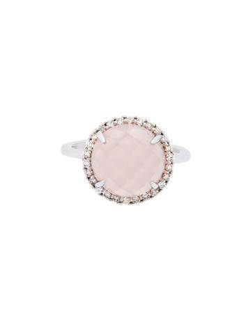 Estate 18k White Gold Rose Quartz/diamond Ring,