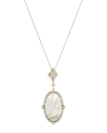 Lisse Large Oval Stone Pendant Necklace