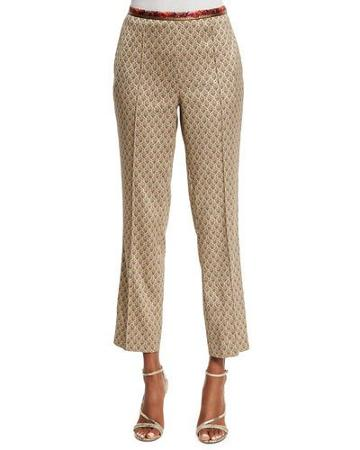 Mid-rise Cropped Jacquard Pants, Beige