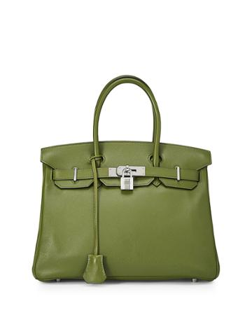 Birkin 30 Swift Leather Satchel Bag, Vert Benghal