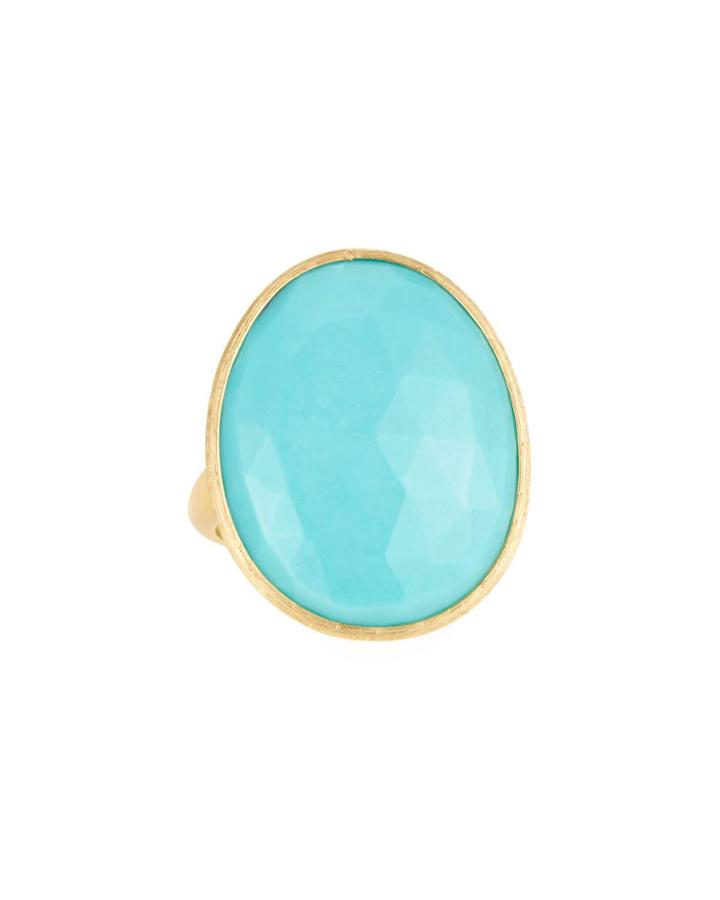 18k Lunaria Turquoise Oval Ring