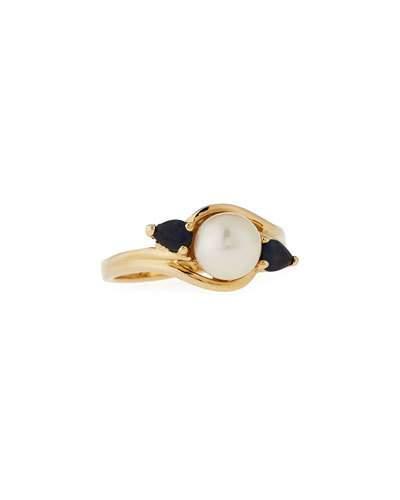 14k Akoya Pearl & Sapphire Ring,