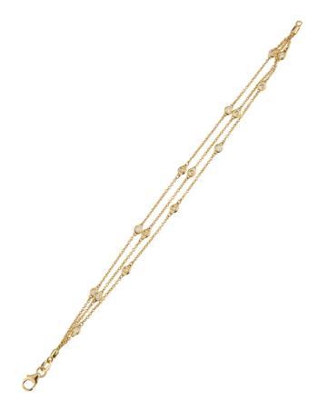 Neiman Marcus 14k Three-strand Floating Diamond Bracelet, Gold