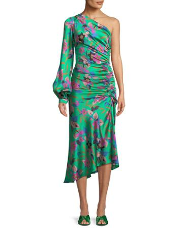 One-sleeve Shirred Floral-print Hammered Silk