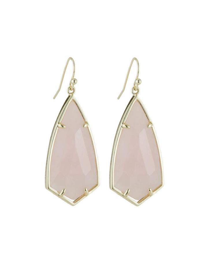 Carla Statement Earrings - Rose Quartz