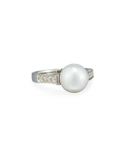 14k South Sea Pearl & Diamond Ring