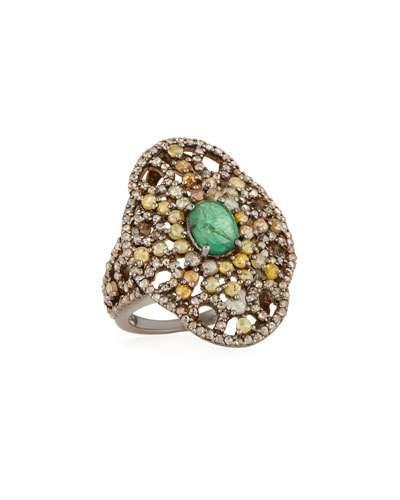 Emerald & Mixed Diamond Cocktail Ring,