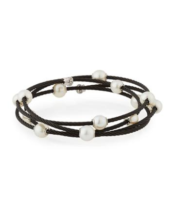 Cable Wrap Bangle W/ Freshwater Pearls, Black