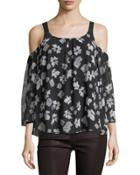 Floral-print Chiffon Cold-shoulder Top