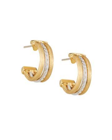 Jaipur 18k Engraved Triple-row Diamond Hoop Earrings