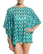 Zigzag Short Tunic Coverup, Blue/green