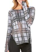 Plaid Burnout Vented Long-sleeve Top, Gray