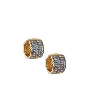 Estate 18k Yellow Gold Blue Topaz Earrings