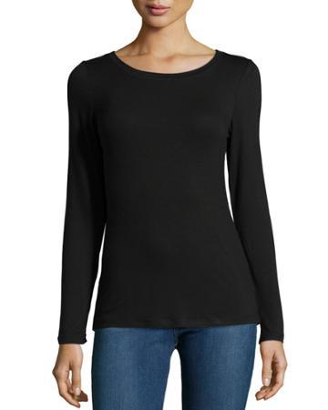 Neiman Marcus Long-sleeve Stretch Jersey Tee, Black, Women's,